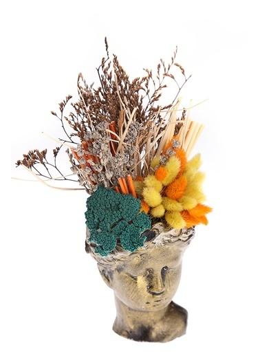Kibrithane Çiçek Yapay Çiçek Gold Helen Saksı Kuru Çiçek Aranjman Kc00200835 Renkli
